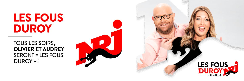 logo header les fous Duroy sur NRJ avec Audrey