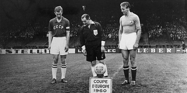 1960 premier championnat europe football banner
